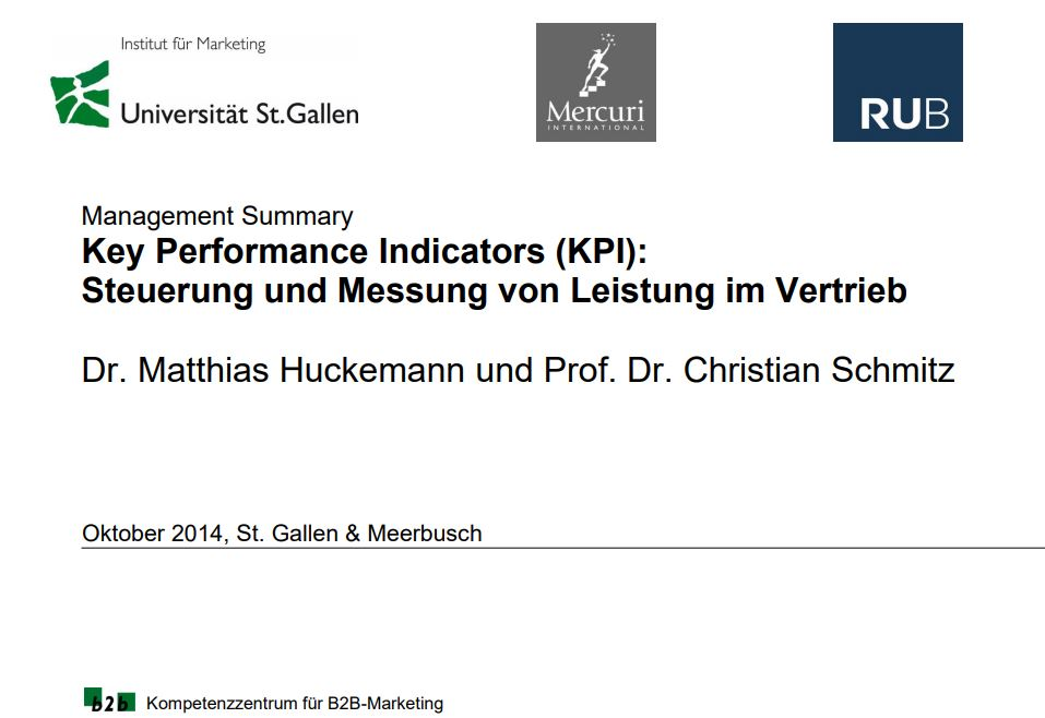 Studie Vertriebssteuerung über KPI